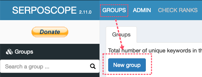 serposcopeグループ作成
