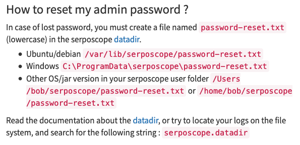 sereposopeパスワードリセット手順