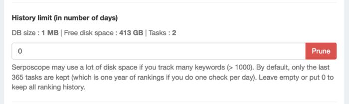 serposcope順位チェックデータの保存日数設定