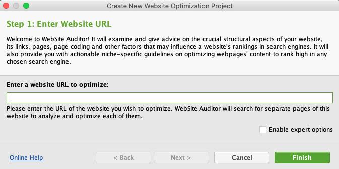 Website Auditor調べたいサイトのURL入力