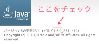 javaバージョン確認画面(mac)
